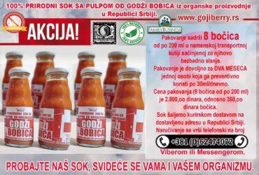 Maticni sok sa pulpom od organskih godzi bobica (2800din/paket)