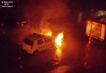 Goreo policijski auto u Niškoj Banji; Foto: Zoran Srećković