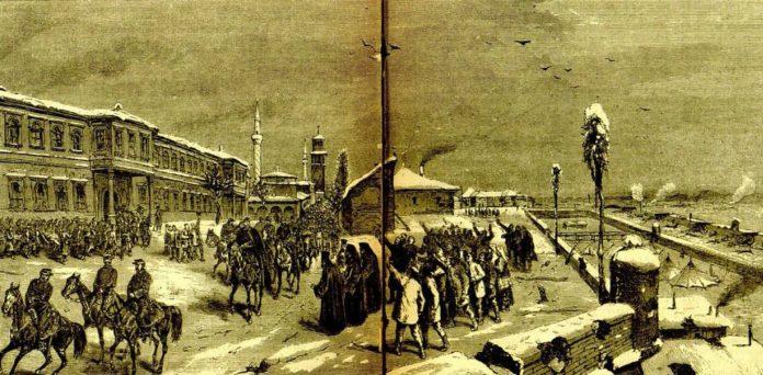 """rpska vojska na čelu sa knezom Milanom ulazi u oslobođeni Niš, ilustracija Feliksa Kanica objavljena u velikom islustrovanom kalendaru """"Orao"""" (1879)."""